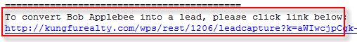 Lead Capture Link in Email