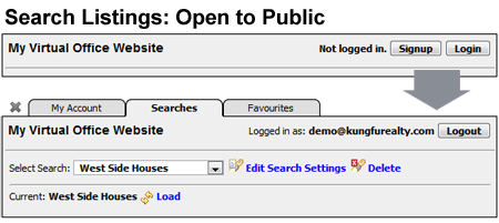 Virtual Office Website toolbar in Reciprocity listing pages