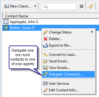 Featured Agent Contact Delegation