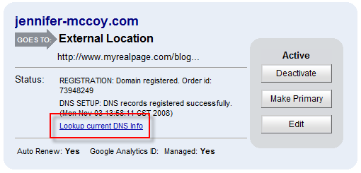 Domain DNS Lookup Info Link