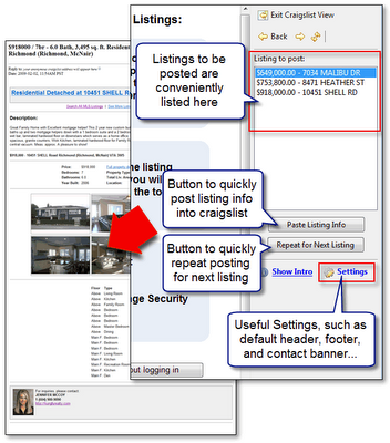 MyRealPage and Craigslist Integration Screenshot